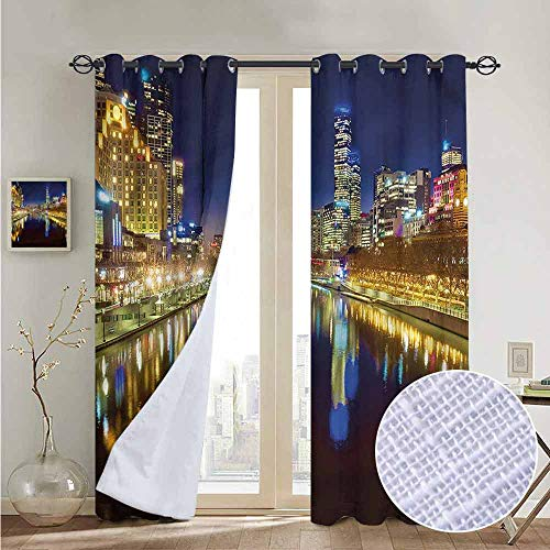 NUOMANAN Kitchen Curtains City,Night in Melbourne River,Rod Pocket Drapes Thermal Insulated Panels Home décor 84