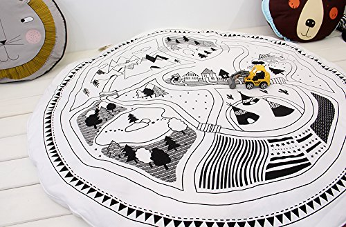 hiltow-child-game-mats-car-track-puzzle-rug-baby-play-crawl-mat-round-mats