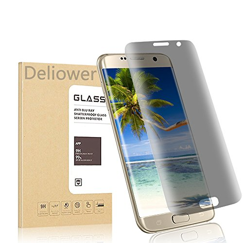 Galaxy S7 Edge Privacy Screen Protector, Deliower Anti-Spy Tempered Glass Screen Guard for Sumsung Galaxy S7 Edge- 3D Curved Edge Full Screen Coverage