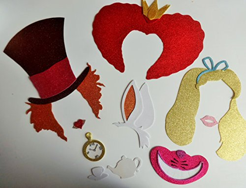 9 Pc Photo Booth Party Props Mustache on a Stick Alice in Wonderland Inspired Photo Booth Party Props Mustache on a Stick. Queen Mad Hatter Cards Alice Blue Bow