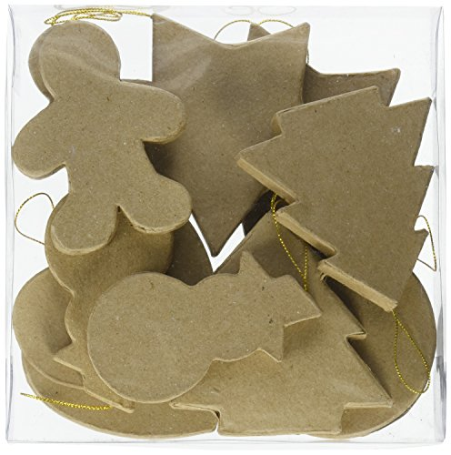 Paper Mache Ornament - Craft Ped Paper CPLBV0087 Mache Ornaments Sat Kraft 12pc