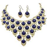 Gypsy Jewels Teardrop Dot Cluster Statement Bib Boutique Style Necklace & Earrings Set - Assorted colors (Dark Blue)