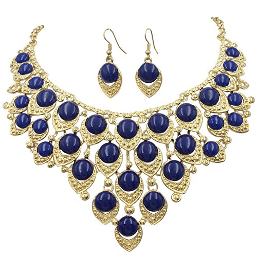 Gypsy Jewels Teardrop Dot Cluster Statement Bib Boutique Style Necklace & Earrings Set - Assorted colors (Dark Blue)