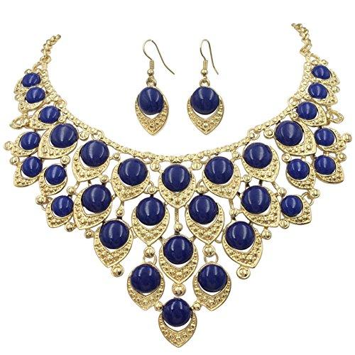 Gypsy Jewels Teardrop Dot Cluster Statement Bib Boutique Style Necklace & Earrings Set - Assorted colors (Dark Blue) ()
