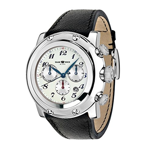 Glam Rock Unisex GR11127 Miami Chronograph White Enamel Dial Black Patent Leather Watch