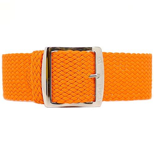 DaLuca Braided Nylon Perlon Watch Strap - Orange (Polished Buckle) : 24mm
