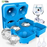 Ice Cube Trays, Diamond-Shaped Silicone Ice Tray,Molds with Lid&Funnels, Ice Cube Mold Multifunctional Storage Containers Easy Release for Whiskey, Cocktail,Chocolate BPA Free by Vinmax (blue)