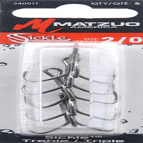 Matzuo Sickle Treble Hook, Black Chrome, 2/0