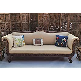 Traditional Teak Wood 3 Seater Couch for Home