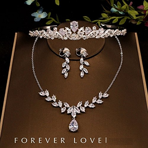 Quantity 1x Korean Bridal luxury _light_ Crown Tiara Party Wedding Headband Women Bridal Princess Birthday Girl Gift _cubic_zirconia_stones_ jewelry necklace earrings _made_up_three_sets_ Wedding jewe