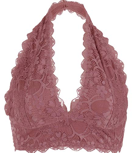 Halter V Neck Flora Lace Un-Pad Bralette Top Sheer Bra Bustier Crop Wireless Lingerie (Medium, Dk. Rose)