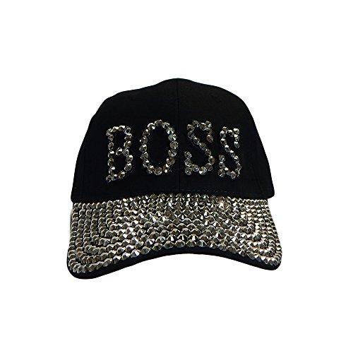 (Something Special BOSS Bling Rhinestone Jewel Adjustable Baseball Cap Hat (Black))