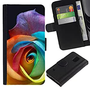 [Neutron-Star] Modelo colorido cuero de la carpeta del tirón del caso cubierta piel Holster Funda protecció Para Samsung Galaxy S5 V SM-G900 [Color Rose Beautiful Flower]