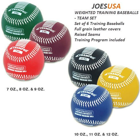 Champro Training Baseballs, Set of 6 (Red/Maroon/Green/Yellow/Blue/Black, ()