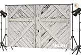 LB Rustic Barn Door Backdrops Photography 7x5ft Vinyl Vintage White Wood Door Photo Backdrop Kids Newborn Baby Shower Birthday Party Photo Booth Background