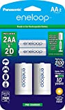 "Panasonic K-KJS1MCA2BA eneloop AA NEW 2100 Cycle, Ni-MH Pre-Charged Rechargeable Batteries, 2 Pack with 2 ""D"" Spacers"