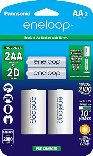 Panasonic K-KJS1MCA2BA eneloop D Size Battery Adapters with eneloop AA 2100 Cycle Ni- MH Pre-Charged Rechargeable Batteries, 2 Pack with 2