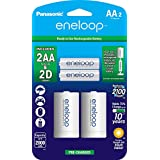 """Panasonic K-KJS1MCA2BA eneloop D Size Battery Adapters with eneloop AA 2100 Cycle Ni- MH Pre-Charged Rechargeable Batteries, 2 Pack with 2 """"D"""" Adapters"""