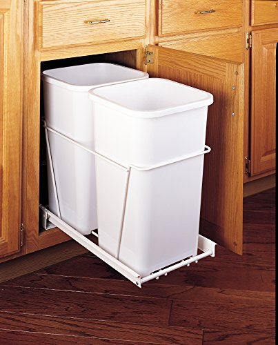 Rev-A-Shelf - RV-15PB-2 S - Double 27 Qt. Pull-Out White Waste Containers with Full-Extension Slides (Waste Out Container)