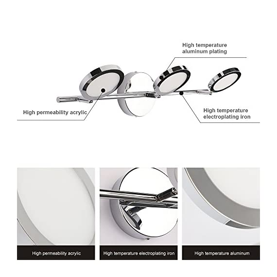 LED Vanity Lights 3-Lights, Joosenhouse Wall Sconces Bath Light for Mirror in Home Bathroom Up or Down Vanity Wall Lighting Fixtures 21.26 Inches Long Chrome 4000K - 【New Design】Modern design with rotated beam angle, chrome stainless steel base and brief 3 light deisgn, perfectly used for bedroom, it is a wonderful makeup vanity light. As the bathroom vanity light, it also works well. There are 2 installation methods. One is directly installation on the wall as sconces wall lamp. The other is installation on ceiling as ceiling spot light in living room. 【Specifications】Length:21.26in , width(extends from the wall): 7.87in; backplate: dia.=4.72in. Voltage: 85-265V; Color Temperature: 4000K 【Easy for installation 】Fix the lamp base at an appropriate position, connect the wires, and then fix the light fixture on the base. - bathroom-lights, bathroom-fixtures-hardware, bathroom - 51rvMBRj6NL. SS570  -