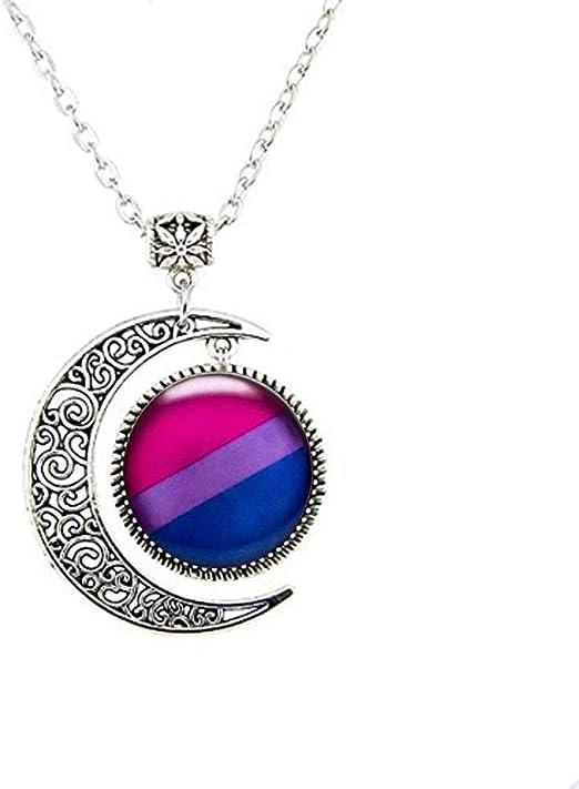 Bisexual Jewelry Bisexual Pride Key Necklace Bi Pride Pink Purple Blue Pendant Bi Flag,N185 Bisexual Pendant Bisexual Gifts Bisexual Pride Flag