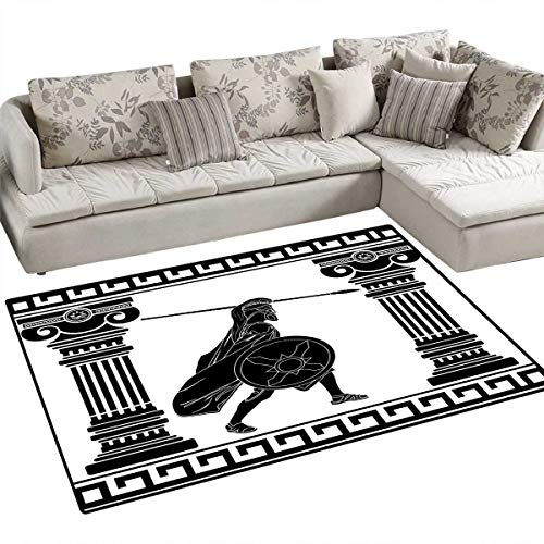 Toga Party Floor Mat for Kids Black Warrior Silhouette Ready to Attack Between Ancient Ionic Palace Columns Bath Mat Non Slip 55