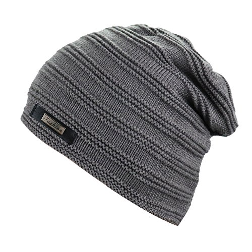 Kay Boya Winter Beanie Skull Hat Baggy Wool Knit Hat Thick Warm Ski Cap For Men (One Size,Gray) (Wash Wool Hat)
