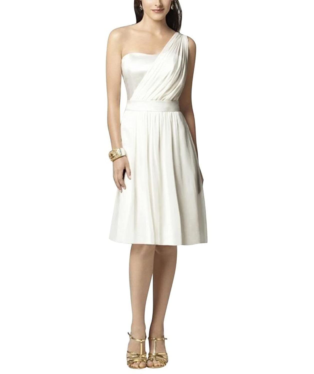GEORGE BRIDE One Shoulder White Knee Length Evening Dress