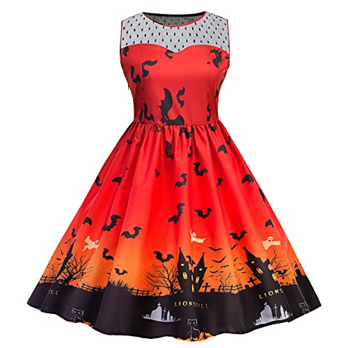 Up 50s Costumes Pin Halloween (MERRYA Women's Halloween Print Plus Size Pin-Up Cocktail Party Dress (4XL,)