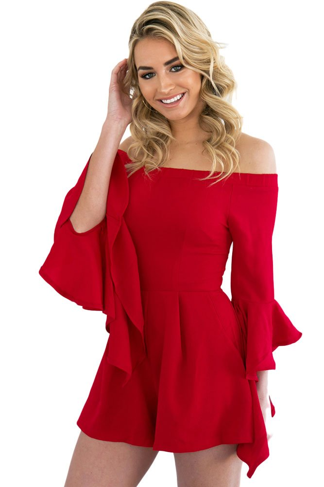 New Woman's Red Off-Shoulder Romper Playsuit Club Wear Festival Wear Size S UK 8-10 EU 36-38