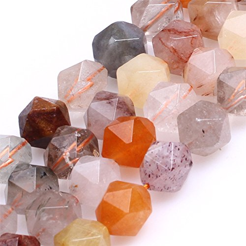 Multicolored Hair Rutilated Quartz Beads for Jewelry Making Natural Gemstone Semi Precious AAA Grade 10mm Faceted 15