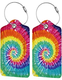 PU Leather Luggage Tag, Suitcase Labels, Rainbow Tie Dye ID Tags Card, Baggage Bag Label with Stainless Steel Loop, Full Back Privacy Cover for Men Women Travel, Set of 2