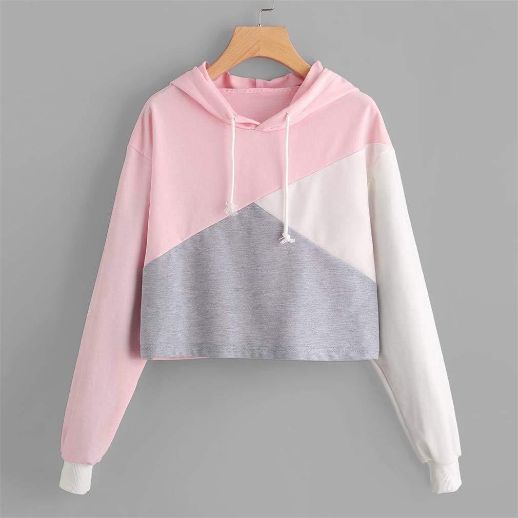Patchwork Short Sweatshirt Autumn Female Long Sleeve Drawstring Hoodies Women Crop Tops Girl Casual Pullover Coat