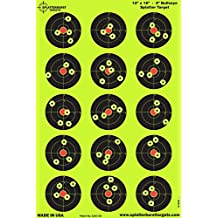 50 pack - 12 x 18 inch - 3 inch Bullseye Splatterburst Reactive Shooting Target - Shots Burst Bright Fluorescent Yellow Upon Impact - Gun - Rifle - Pistol - AirSoft - BB Gun - Pellet Gun - Air Rifle