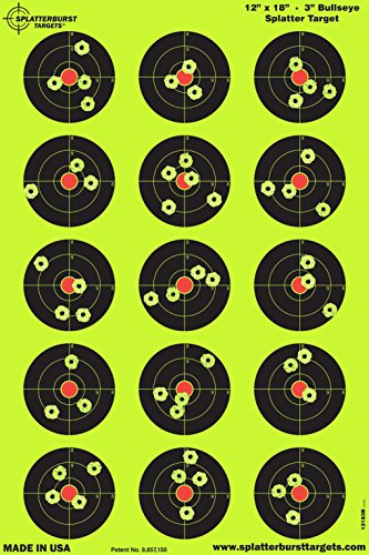 Splatterburst Targets - 12 x 18 inch - 3 inch Bullseye Shooting Target - Shots Burst Bright Fluorescent Yellow Upon Impact - Gun - Rifle - Pistol - Airsoft - -