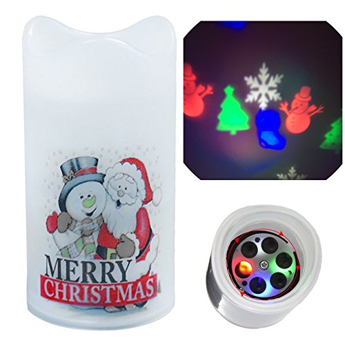 Christmas Light Projector  Lovenite Christmas Flameless Night Spotlight Candles Battery Operated 4 Moving Images Led Projection Tealight For Baby Room Wedding Decoration Party