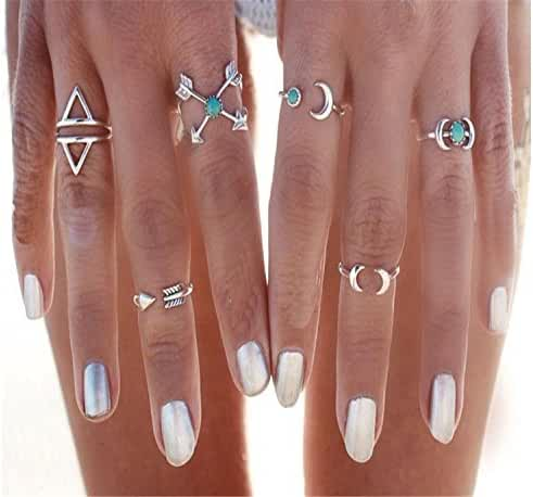FUNRUN Vintage Stackable Turkish Arrow Moon Joint Knuckle Nail Midi Ring Finger Tip Rings 6PCS a Set