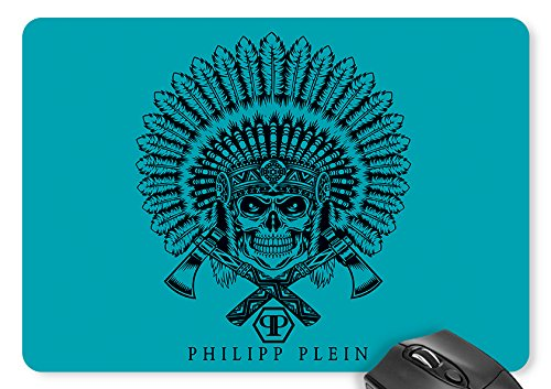 Mouse Mat Blue Indian Double Ax Skull Mouse Pad 11.8 x 9.8