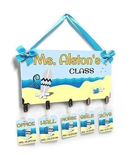 Teacher Personalized Hallpasses Surfboard on Beach Theme ()
