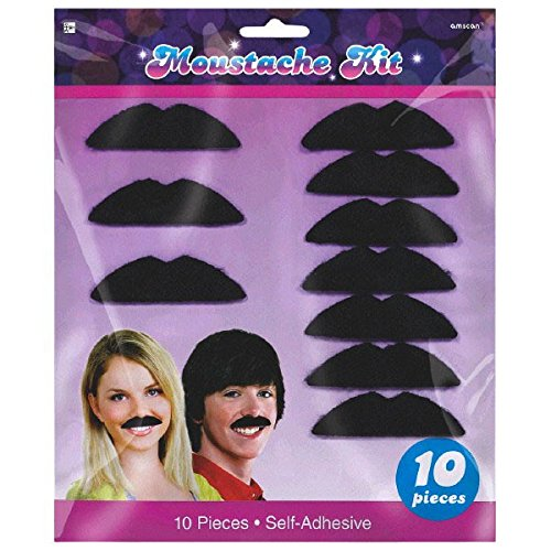 Disco Fever 70's Party Black Moustache Accessory, Felt, 3