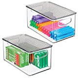 mDesign Plastic Stackable Long Storage Bin Container with Handles, Lid for Home Office to Hold Gel Pens, Erasers, Tape, Pencils, Markers, Notepads, Highlighters, Staplers - 2 Pack - Clear/Smoke Gray