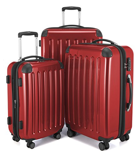 HAUPTSTADTKOFFER Alex Double Wheel Luxurious Luggage Set 18 different colors Suitcase Set Size (20'24'28') Trolley TSA Red by Hauptstadtkoffer