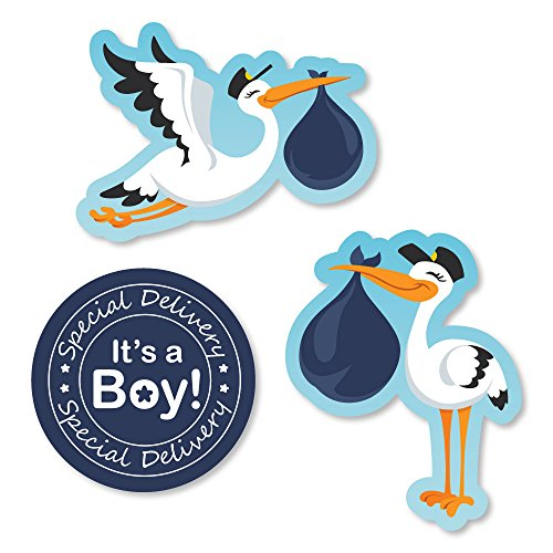 Big Dot of Happiness Boy Special Delivery - DIY Shaped Blue It's A Boy Stork Baby Shower Cut-Outs - 24 Count