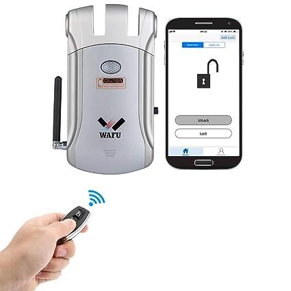 Wafu - Cerradura de puerta con mando a distancia inalámbrico para iOS y Android, con