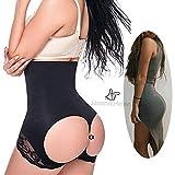 Women's Butt Lifter Shaper Seamless Tummy Control Hi-waist Thigh Slimmer, Black,Medium / Large