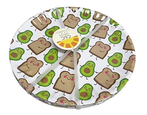 Avocados & Toast Slices Set of 8 Novelty 100% Melamine Indoor/Outdoor Party Plates (10.5 Inch Dinner Plates) ()