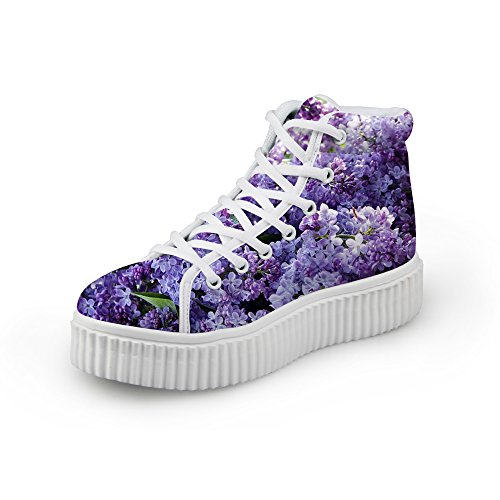 HUGS IDEA Fashion Floral Women Platform Sneakers High Top Shoes Flower10 y3FBDTO