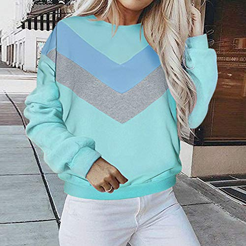 Women's Patchwork Sleeve Crewneck Pullover Blue Long Hoodie Hooded Jacket Blouse Coat Shirt Outwear Sweater Tops Sweatshirt Or4XwO