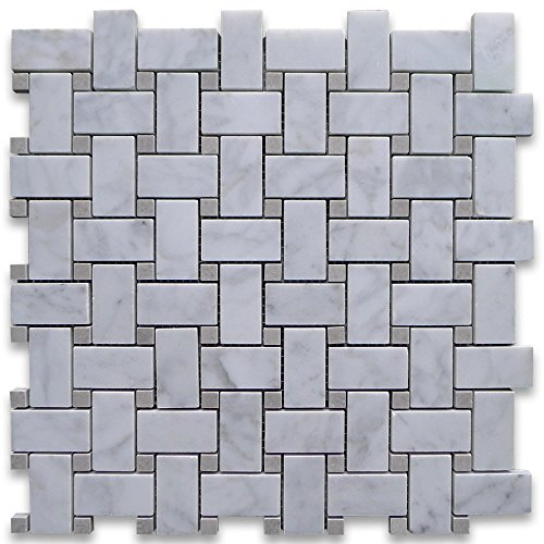 Carrara White Italian Carrera Marble Basketweave Mosaic Tile Gray Dots 1 x 2 Honed