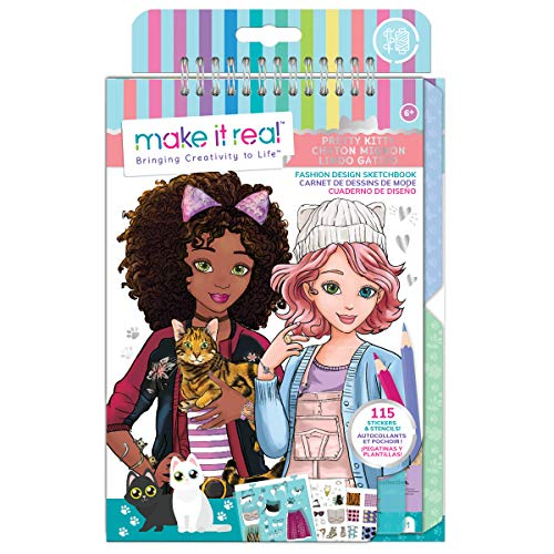 Make It Real - Fashion Design Sketchbook: Pretty Kitty. Cat Inspired Fashion Design Coloring Book for Girls. Includes Sketchbook, Stencils, Stickers, and Fashion Design Guide